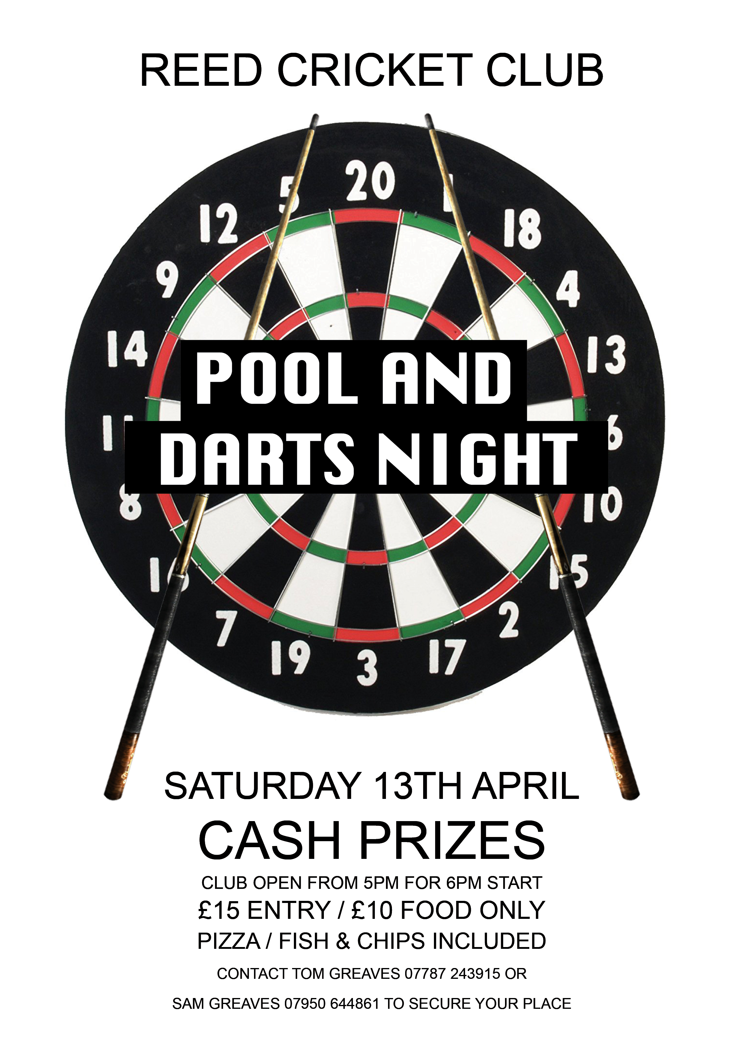 Reed CC Pool & Darts Night 2019 – Saturday 13th April