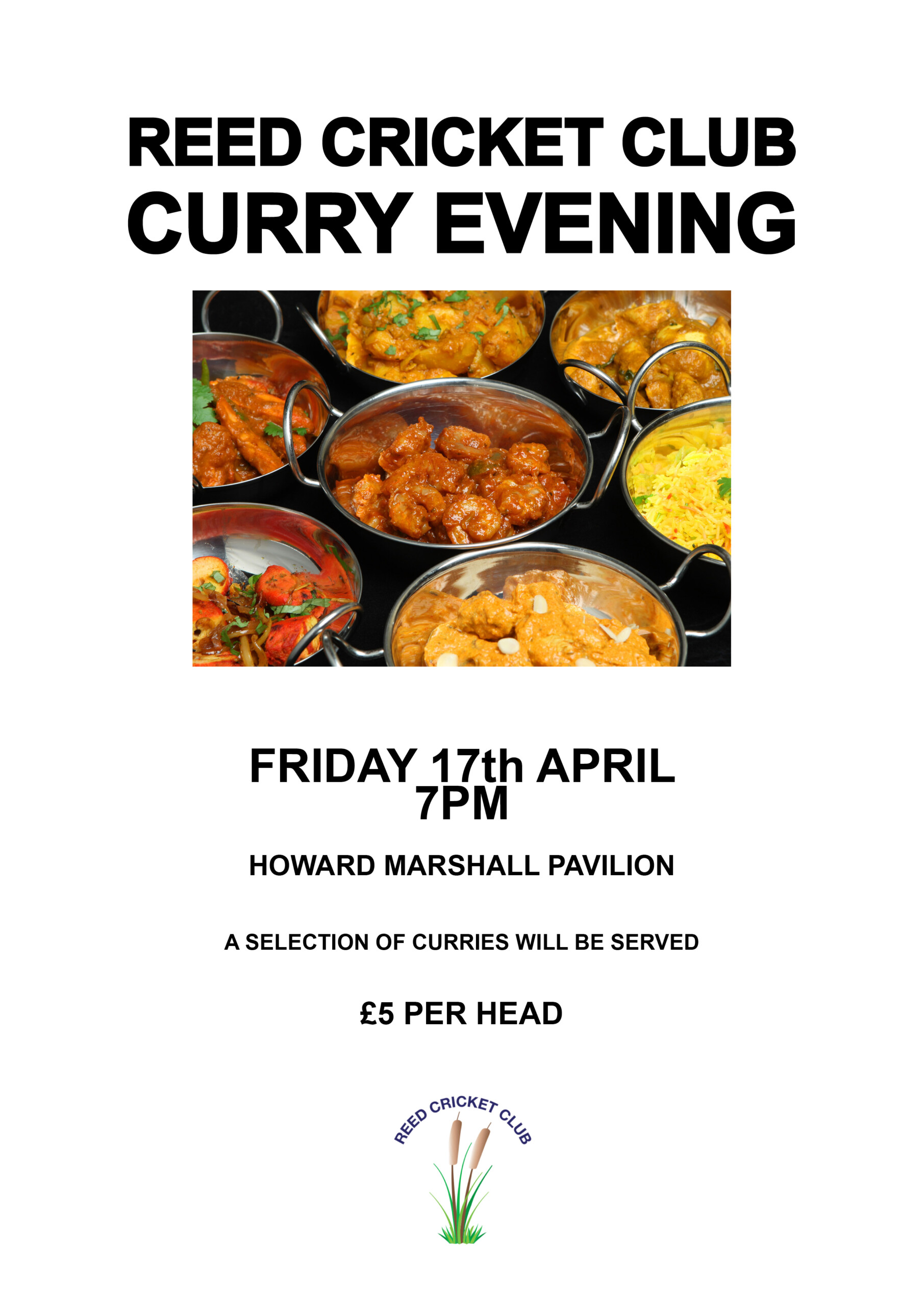 Curry Night at Reed Cricket Club, 17th April, 7 p.m.